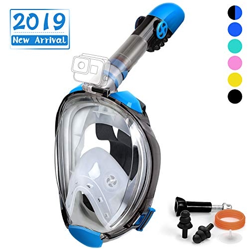 OUSPT Full Face Snorkel Mask, Snorkeling Mask with Detachable Camera Mount, Panoramic 180° View Upgraded Dive Mask with Newest Breathing System, Dry Top Set Anti-Fog Anti-Leak (Blue-2, L/XL)