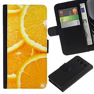 JackGot ( Modelo anaranjado de la rebanada ) Samsung Galaxy S3 III i9300 i747 la tarjeta de Crédito Slots PU Funda de cuero Monedero caso cubierta de piel