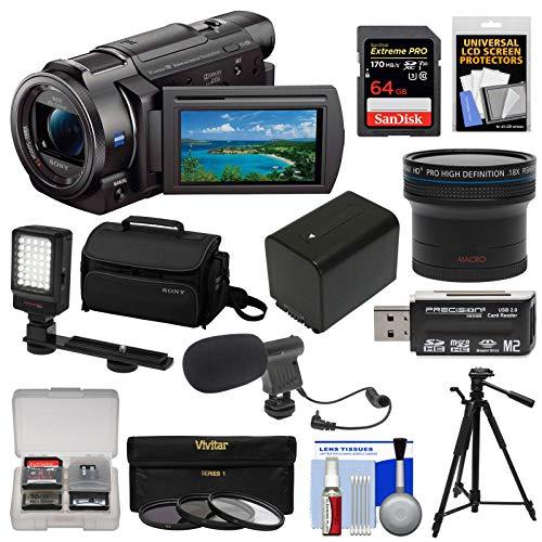 Sony Handycam FDR-AX33 Wi-Fi 4K Ultra HD Video Camera Camcorder + 64GB Card + Sony Case & Tripod + LED Light + Microphone + Battery + Fisheye Lens Kit (Sony Fdr Ax33 4k Ultra Hd Handycam)