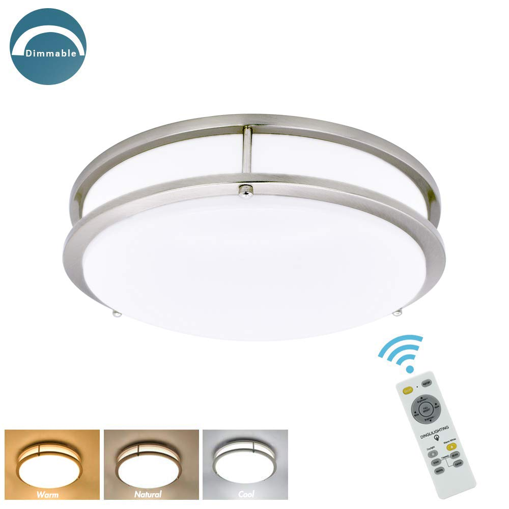 W-LITE 30W Dimmable LED Flush Mount Ceiling Light Fixture with Remote-14 Inch Round Ceiling Lighting for Living Room/Kitchen/Bedroom/Dining Room, 3 Light Color Changeable