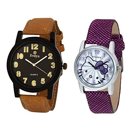 Analog Leather Watches for Lovely Couple -eve-350-dz-457