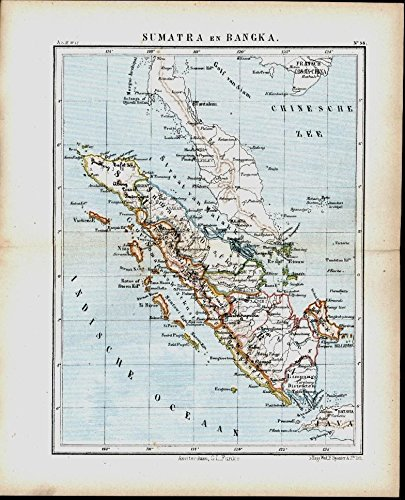 1882 Lithograph - Sumatra Bangka South East Asia 1882 antique color lithograph map