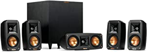 Klipsch Reference Theater Pack 5.1 Channel Surround Sound System, Wireless High Fidelity Subwoofer, Wall Mountable Design, Spmor Mouse Pad