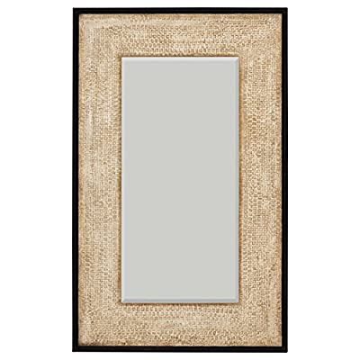 "Amazon Brand – Stone & Beam Rustic Woven Frame Mirror, 48"" H, Natural - This mirror's woven textured frame has been given a natural finish to create a classic look. This rectangular piece can be hung vertically or horizontally, making it a a versatile fit for any space or any décor in a living area, bedroom or hallway. 1.5""D x 30""W x 48""H Iron, glass, engineered wood - mirrors-bedroom-decor, bedroom-decor, bedroom - 51lbVR551lL. SS400  -"