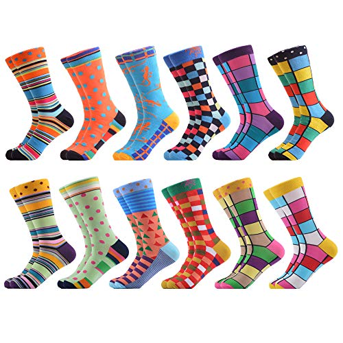 WeciBor Men's Dress Party Crazy Colorful Funny Cotton Crew Socks Packs -