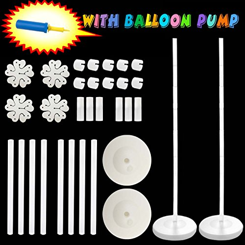 "Balloon Columns Arch - 2 set Balloon Arch with BALLOON PUMP Balloon Column Kit 48"" Height with Water Fillable Base Stand Kit"