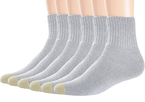 Ankle Length Athletic Socks (Areke Mens Premium Comfort Cotton Quarter Athletic Socks, Ankle Crew Soxs, 6 Pairs Light Gray, US Shoe Size 11-15)