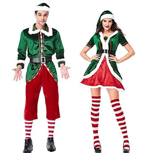 soAR9opeoF Christmas Dress, Men Women Couple Elf Costume Christmas Party Clothes Role Play Carnival Props Men XL