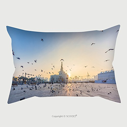 Custom Satin Pillowcase Protector Flying Doves Over Fanar Qatar Islamic Cultural Center In Doha 366223559 Pillow Case Covers Decorative by chaoran