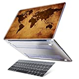 Dongke Case for MacBook Pro 13 inch with Touch Bar Retro Map of the World Pattern Design Hard Pretective Plastic Cover Laptop Sleeve Model Number:A1706 with Gradient Grey Keyboard Skin