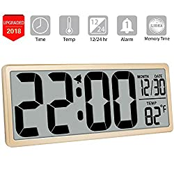 TXL 13.9 Oversized LCD Clock with 4.6 Bold Digit/Date/Temperature Battery Operated Large Digital Wall Clock Jumbo Alarm Clock Office Kitchen Large Display, Button Cell Battery Backup Included, Gold