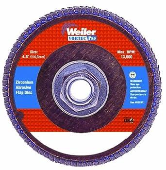 "Weiler Vortec Pro 7/8"" Arbor, 4-1/2"" Diameter, 36 Grit, Zirconium, Phenolic Backing, Angled Abrasive Flap Disc"