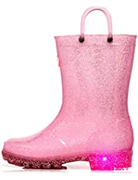 Toddler Kids Light Up Rain Boots Waterproof Lightweight Glitter Boots Collection with Handle