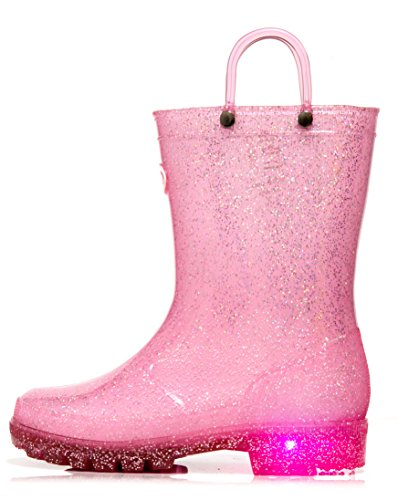 Outee Toddler Girls Kids Light Up Rain Boots Waterproof Shoes Glitter Lightweight Cute Lovely Funny with Easy-On Handles Classic Comfortable Insoles Anti-Slippery Sole with Grip (Size 5,Pink)