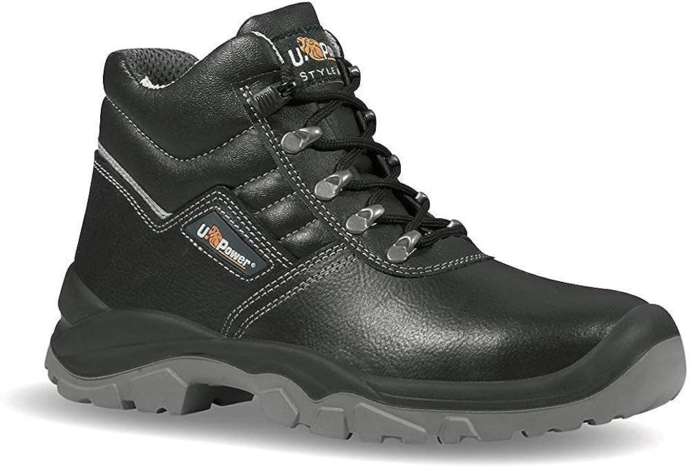 U-power Upower RS S3 SRC Zapatos Seguridad Negro Cuero Vacuno Impermeable Reptil