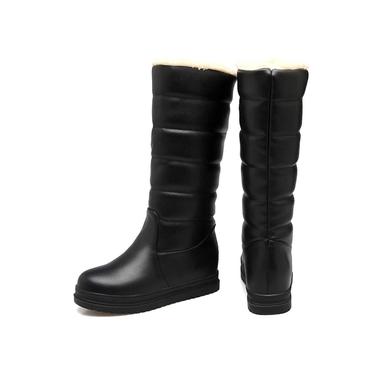 DANDANJIE Damen Winter warme Stiefel Mitte Mitte Mitte der Wade Stiefel Wasserdichte Schneeschuhe (Schwarz Weiß Rosa),schwarz,35EU  4b16d5