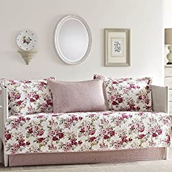 Laura Ashley Lidia 5-Piece Daybed Cover Set, Twin, Medium Red