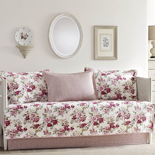 Floral Daybed - Laura Ashley Lidia 5-Piece Daybed Cover Set, Pink,