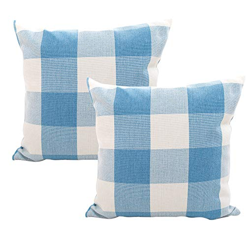 Checkered Pillow (Retro Checkered Plaids Throw Pillow Covers Decorative Farmhouse Cushion Cover Cotton Linen Checkers Pillowcase for Home Sofa Bedroom Car, Sky Blue/White Plaids Cushion Cover, Set of 2, 18 x 18 inch)