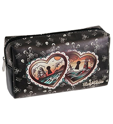 Lucky 13 Heart Locks Black Travel Makeup Bag (Tattoo Of A Heart Lock And Key)