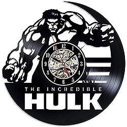 JIAOHJ Vinyl Record Wall Clock,Hanging Living Room Table Clock,Fashion/Personality/Creative/Simple/Modern/Bedroom/Retro/Nostalgic/Wall Clock,Black,30cm