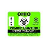 RDW Ohio Zombie Hunting Permit - Color Sticker - Decal - Die Cut