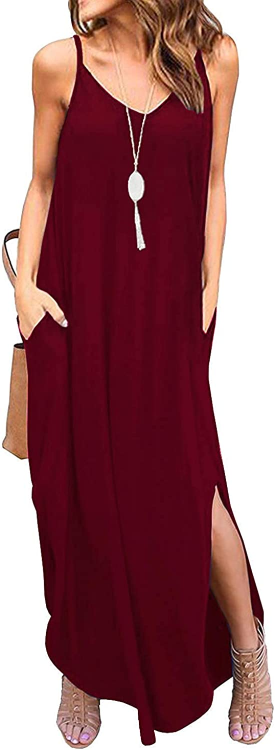 Kyerivs Womens Summer Casual Loose Dress Beach Cover Up Long Cami Maxi Dresses with Pocket