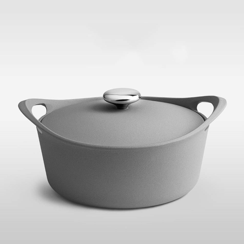 SHICCF Kitchen Pre Seasoned Cast Iron Dutch Oven with Dual Handle and Cover Casserole Dish (Color : Gray) by SHICCF