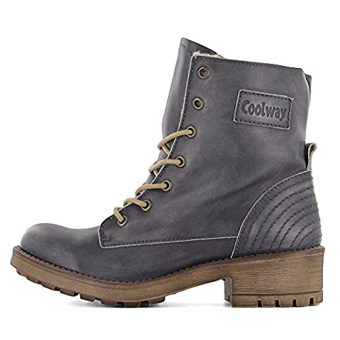 Coolway Women's Mirna Engineer Boot, Black, 38 EU/7.5 M US - Footwear Combat Boots