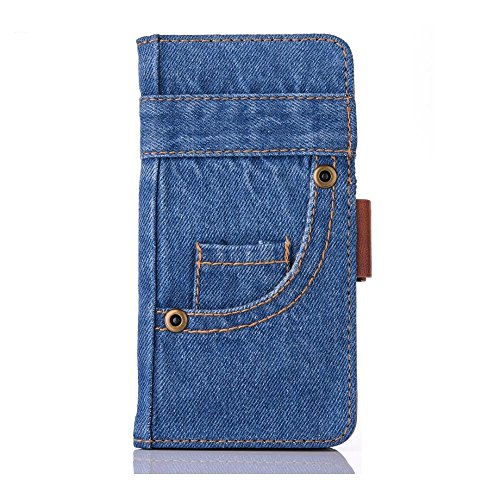 iPhone 8 Plus Case,HuiFlying Creative Jeans Slim PU Leather Magnetic Closure Flip Wallet Case with Kickstand&Card Slot,Canvas Denim Shockproof Protective Case for Apple iPhone 8 Plus,Dark - Closure Denim