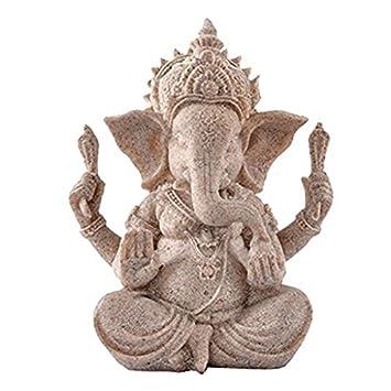 Pixnor Sandstein Ganesha Buddha Elefanten Statue Skulptur