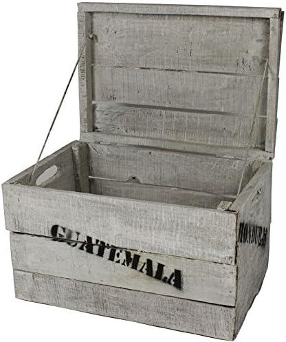 Madera, tamaño pequeño (28 x 42 x 28 cm), vintage BLANCO, como caja para vino, fruta de con tapa e impresa: Amazon.es: Hogar