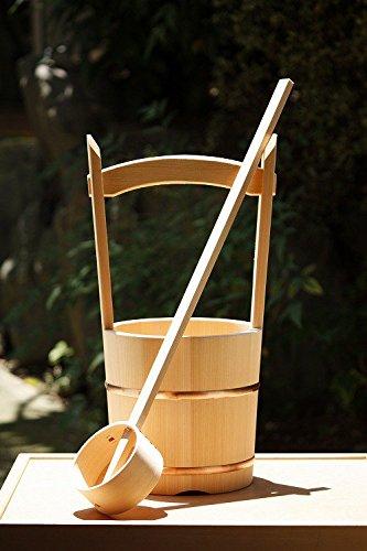木製手桶(大) 木製ひしゃく1本付 (名入れ無し) B01L8JHLDK 名入れ無し 名入れ無し