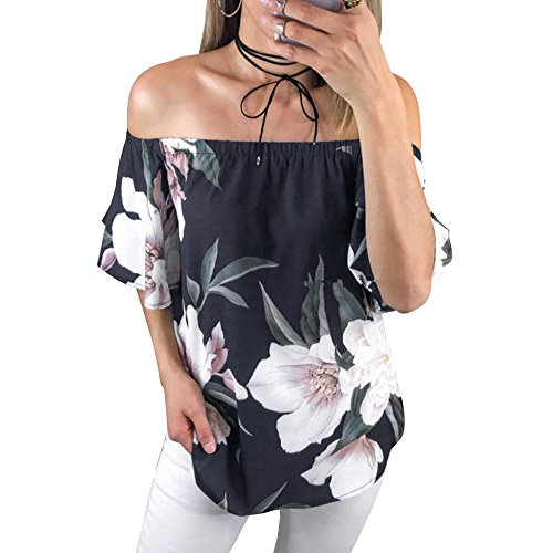Poptem Womens Summer Off Shoulder Floral Print Blouse Short Sleeve Sexy Tops Casual Ruffle Shirt - Womens Sexy Top New Shirt