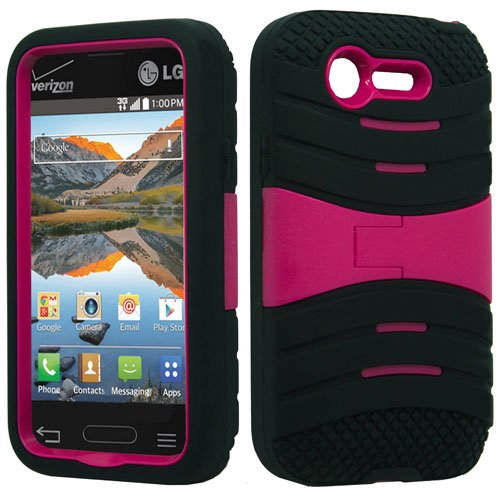 LG Optimus Fuel / L34C (Straight Talk, Tracfone, Net 10) - Black & Hot Pink Symbiosis Stormer Impact Shockproof Armor Kickstand Case Cover + Atom LED Keychain Light + Screen Protector Guard