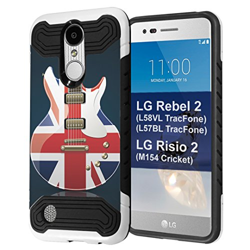 LG Rebel 2 Case, LG LG Risio 2 Case, Capsule-Case Quantum Hybrid Dual Layer Slim Armor Case (White & Black) for LG Rebel 2 L58VL L57BL/LG Risio 2 M154 - (Rebel Flag Guitar)