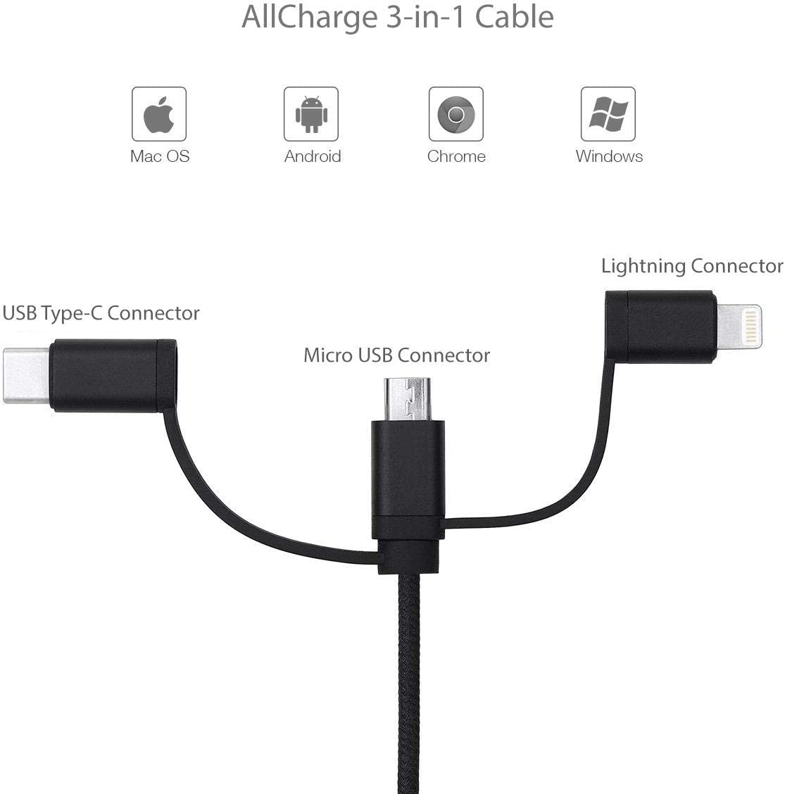 Chuwi Hi8 Pro Cable Jet Black for Chuwi Hi8 Pro BoxWave AllCharge 3-in-1 Cable