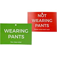 Funny Office Gag Gift for Coworkers - Novelty Signs - Not Wearing Pants Office Door Sign
