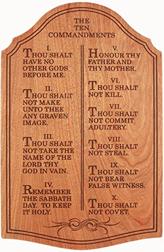 Ten Commandments Plaque (The Ten Commandments, Wall Décor - Laser Engraved Cherry - 12 Inches Tall)