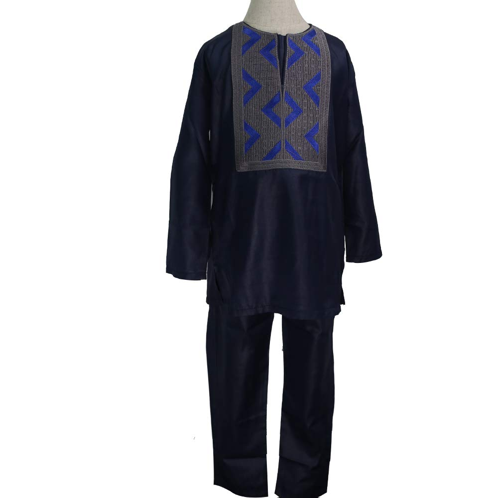 HD African Clothing Embroidery Agbada Robe Dashiki Shirt Boubous Outfits 2 Pieces for Kids XL