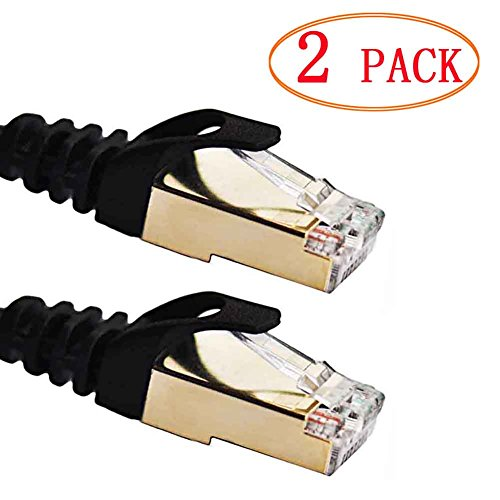 Ethernet Cable Vandesail 2 Pack CAT7 LAN Network Cable RJ45 High Speed Patch Cord STP Gigabit 10 s Gold Plated Lead Patch Panel