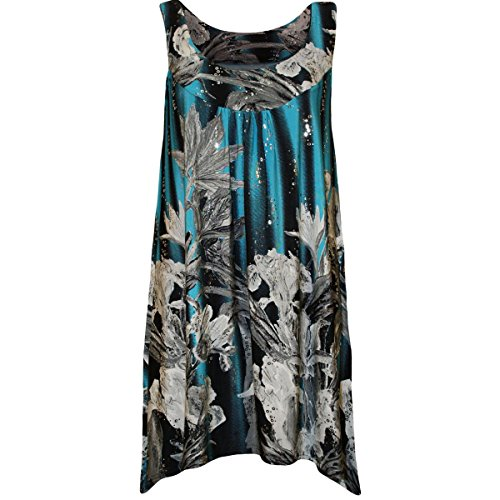 Size Print Sleeveless Long Plus Floral Ladies Vest Sequin Top Women New Swing qPUZwnI5xY