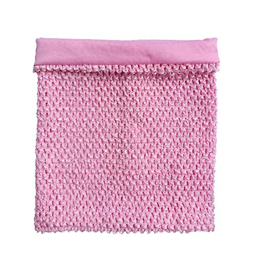 (12inch Baby Pink Lined Crochet Tutu Tube Top Elastic Wrapped Chest for Girls DIY Tutu Dress Tube Tops)