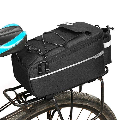 Lixada Insulated Trunk Cooler Bag for Warm or Cold Items,Bicycle Rear Rack Storage Luggage,Reflective MTB Bike Pannier Bag (Black) (Cushion Bicycle Rack Rear)