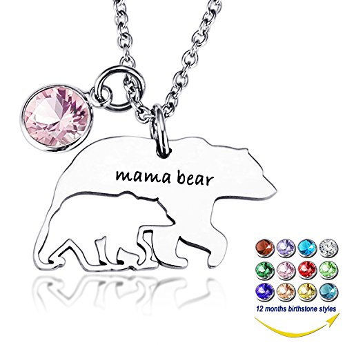 - YOUFENG Mom Necklace Mama Bear Necklaces Pendant 12 Months Birthstone Jewelry for Women Girls (June Birthstone)
