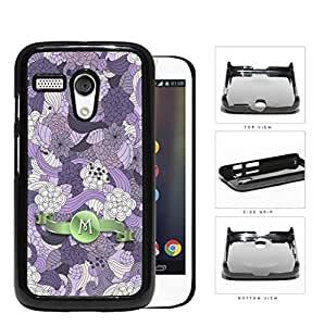 Pretty Purple Lilac Floral Flowers Pattern LETTER INITIAL MONOGRAM Green Stripe Banner Motorola (Moto G) Hard Snap on Plastic Cell Phone Case Cover
