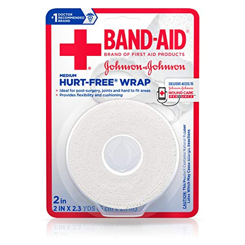 (Band-Aid Brand of First Aid Products Hurt-Free Self-Adherent Wound Wrap for Securing Dressings On Post-Surgical Wounds, Joints, or Other Hard-To-Fit Areas, 2 In by 2.3 yd (Pack of 2))