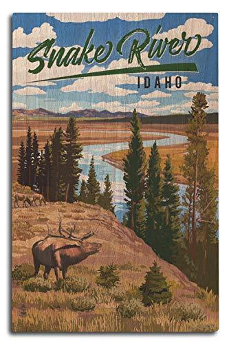 Lantern Press Idaho - Snake River and Elk 99292 (10x15 Wood Wall Sign, Wall Decor Ready to Hang) (Birch Wall River Art)