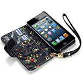 iPhone 5/5S Premium Faux Leather Wallet Case with Floral Interior (Black)