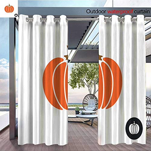 (Patio Curtains Pumpkin-icon--Color-isolated-on-white--Simple-flat-style-pumpkin-illustration--Harvest-thanksgiving-or-halloween-theme-.jpg Outdoor Curtain for Patio,Outdoor Patio Curtains W84